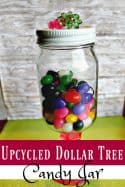 Have an old jar lying around? Turn it into an awesome upcyled candy jar! This Dollar Tree Craft is super as to make and looks great too!