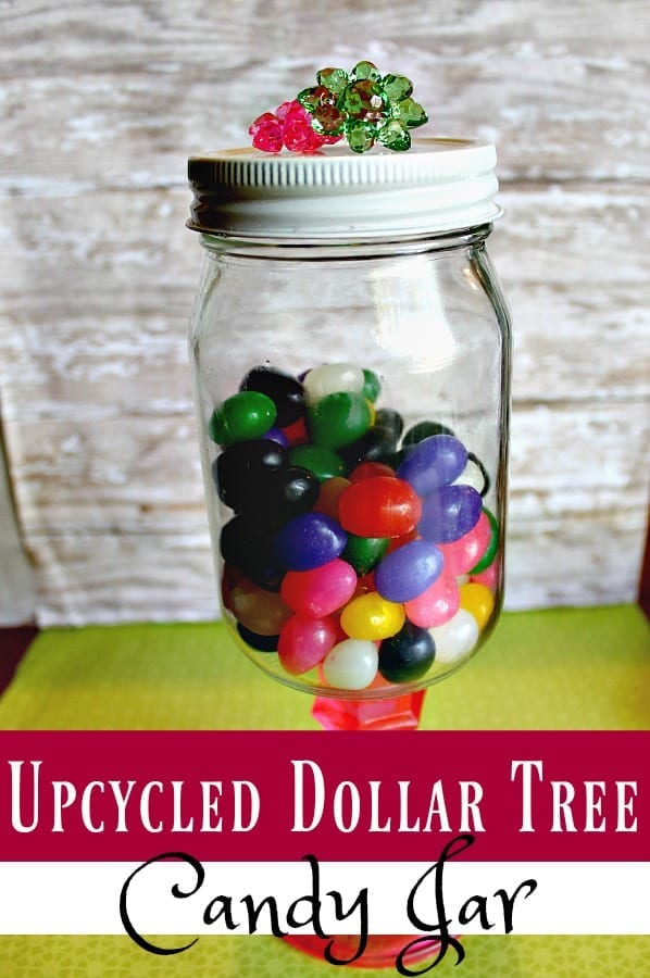 Have an old jar lying around? Turn it into an esome upcyled candy jar! This Dollar Tree Craft is super as to make and looks great too!