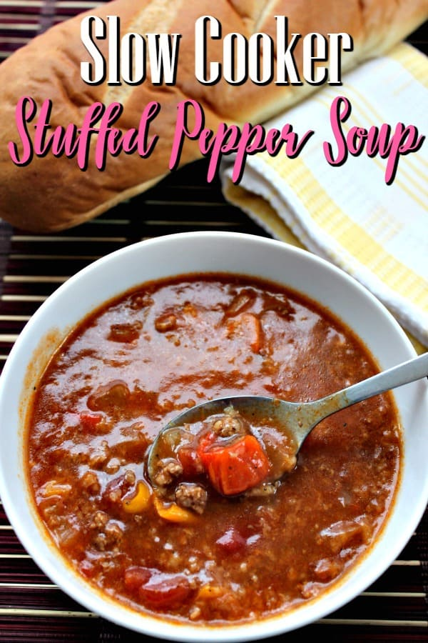Crockpot Stuffed Pepper Soup Recipe - Skip the oven and grab your slow cooker! This slow cooker stuffed pepper soup recipe has all of the flavor with half the work of a classic stuffed peppers recipe!