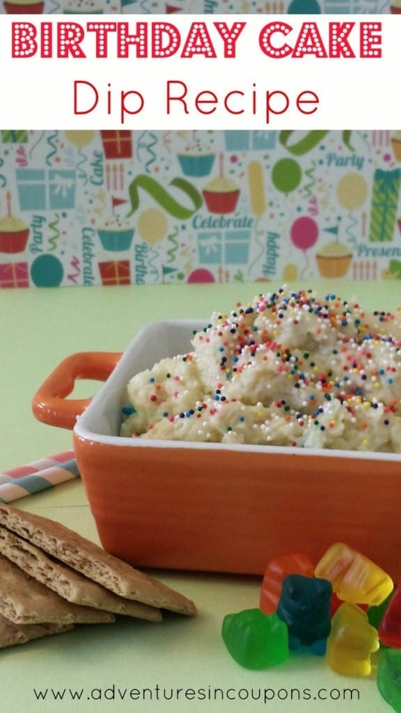 This simple Birthday Cake Dip Recipe is easy to make and makes a great snack or dessert! Whip it up in less than 5 minutes for under $5.00!