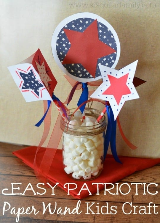 Let your kids celebrate the 4th of July in style with these Easy Patriotic Paper Wands! They're super simple to make, TONS safer than sparklers and great for kids of all ages! Perfect for Memorial Day or Veterans Day too!
