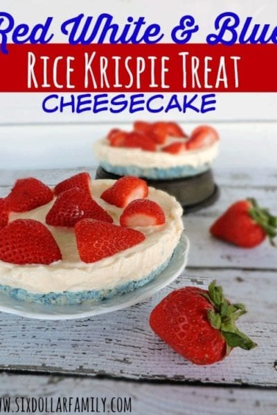 Quick, easy and delicious, these Red White & Blue Rice Krispie Treat Cheesecakes are perfect for anyone looking for 4th of July recipes! You'll really wow at the BBQ with this one!