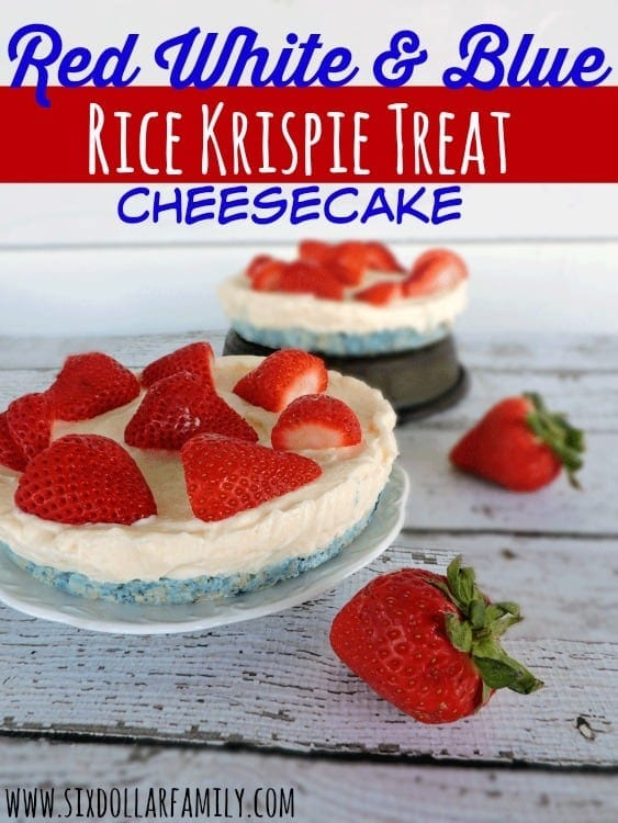 Quick, easy and delicious, these Red White & Blue Rice Krispie Treat Cheesecakes are the perfect patriotic dessert! You'll wow at the BBQ with this one!
