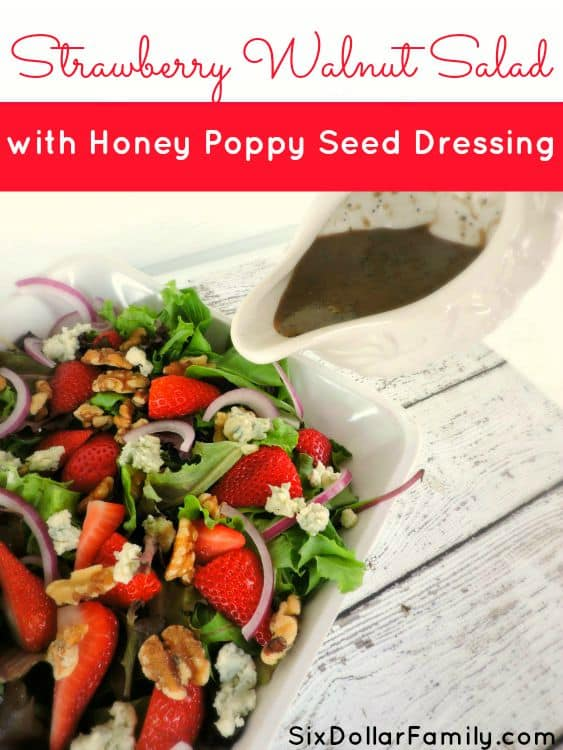 This Strawberry Salad with Honey Poppy Seed Dressing is perfect for your summer table! Picnics, family dinners or just because, it's the perfect addition!