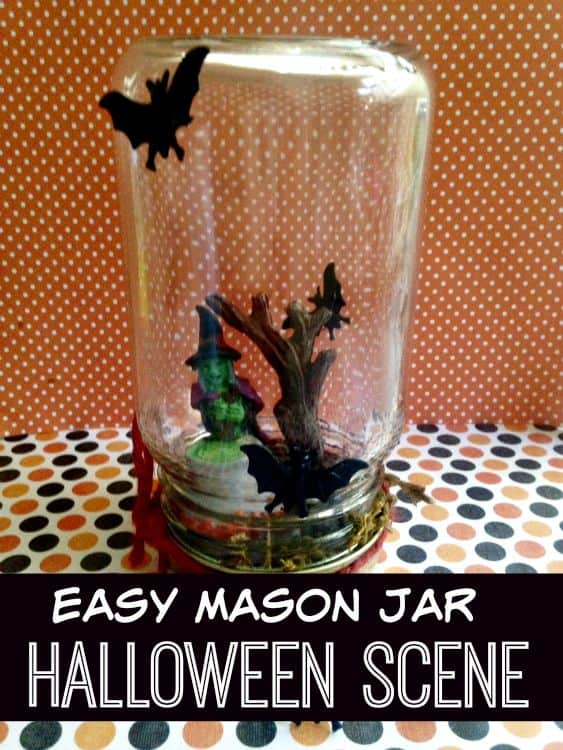 Easy to make and using dollar store supplies, these Easy Mason Jar Halloween Scenes are the perfect Halloween craft!