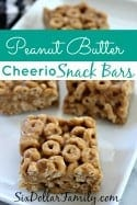 Peanut Butter Cheerio Snack Bars