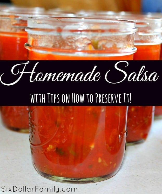 Freshly made salsa is a staple in our home and with this recipe it will be for your home too! This homemade salsa recipe is delicious and easy to can and preserve too!
