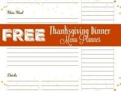 Free Printables – Thanksgiving Menu Planner