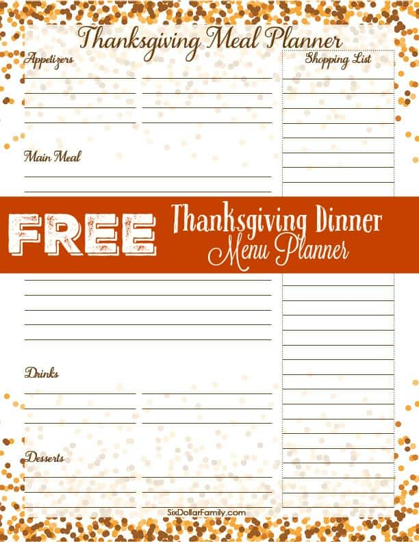 Who says planning Thanksgiving dinner has to be a hassle? With printables it isn't! Use this FREE Thanksgiving Menu Planner and make things easier on yourself!