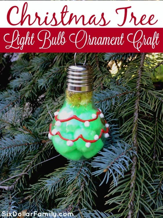 This DIY Christmas Tree Light bulb ornament is super easy to do and looks great hanging on your tree! It makes an amazing homemade gift idea too!