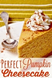 No Thanksgiving table is complete without both pumpkin pie and pumpkin cheesecake! This perfect pumpkin cheesecake recipe is creamy, delicious and oh so very good! It's the perfect Thanksgiving dessert!