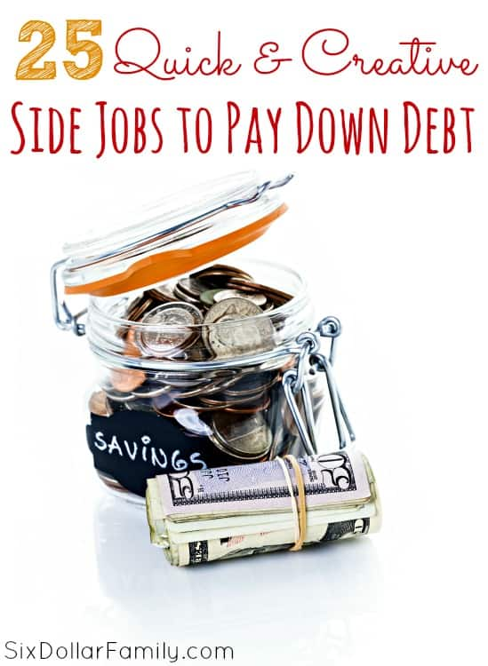 Trying to be debt free? These 25 quick & easy side jobs to pay down debt are sure to help you! They're quick, they're easy, and they're great for earning extra money!