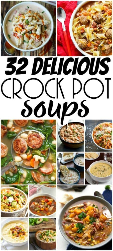 Quick, easy and delicious, these 32 Crock-Pot Soup Recipes are just what your menu plan needs! Just pop them in the slow cooker and enjoy! Did I mention they're all absolutely, taste bud pleasing delicious?