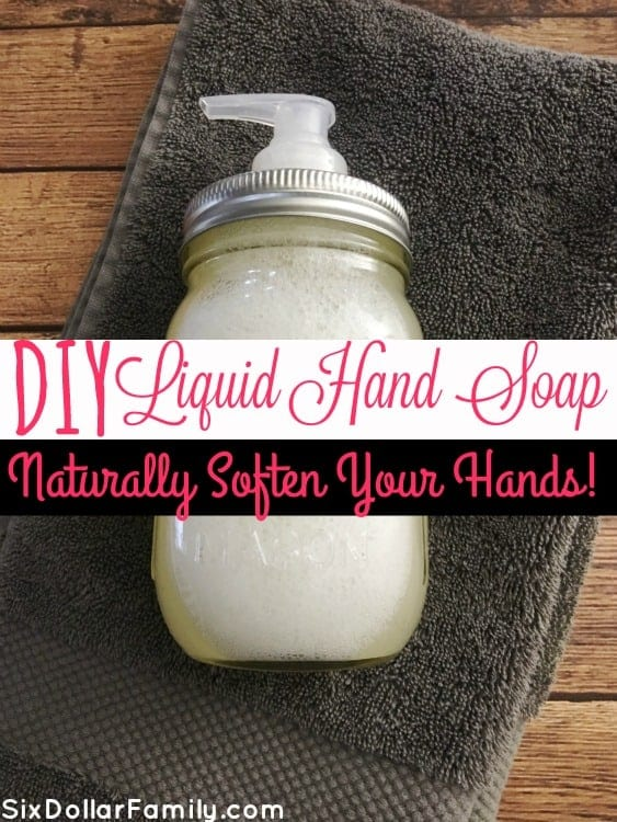 Commercial hand soaps dry my hands out so badly! This DIY Liquid Hand Soap though? Nourishes and cleans them naturally! No dry skin and no nasty ingredients! You will never pay for store bought hand soap again!