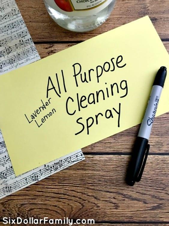 Homemade Lavender Lemon All Purpose Cleaning Spray | Six
