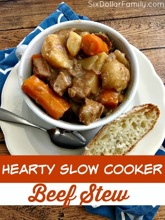 Hearty Slow Cooker Beef Stew Recipe - If you're looking for an easy dinner idea, this is it! This delicious stew is easy to put together, warm and filling and is a great budget friendly dinner recipe! Be sure to add it to your menu plan soon!