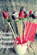 Quick and Easy, this Chocolate Dipped Strawberry Bouquet makes a fantastic last minute DIY Valentine's Day gift or for showing someone you care anytime of the year!