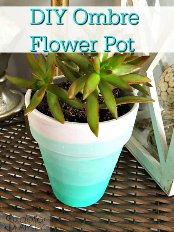 Ombre DIY Home Decor -Looking for cheap DIY home decor? This Ombre flower pot is perfect for anyone looking for DIY home decor ideas! Easy and cheap to make and looks amazing in any room!