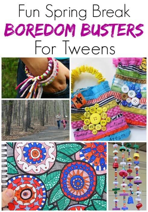 "Stop ""I'm bored"" in its tracks with these awesome ideas! These 25 spring break boredom busters for tweens are perfect for anytime the kids need a bit of help figuring out what to do!"