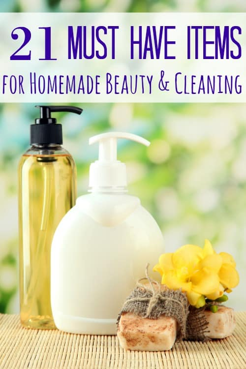 Have you ever just wanted a list of the items you will need to make your own homemade beauty products or homemade cleaning supplies? Want no more! These 21 must have items for homemade beauty and cleaning is just what you're looking for!