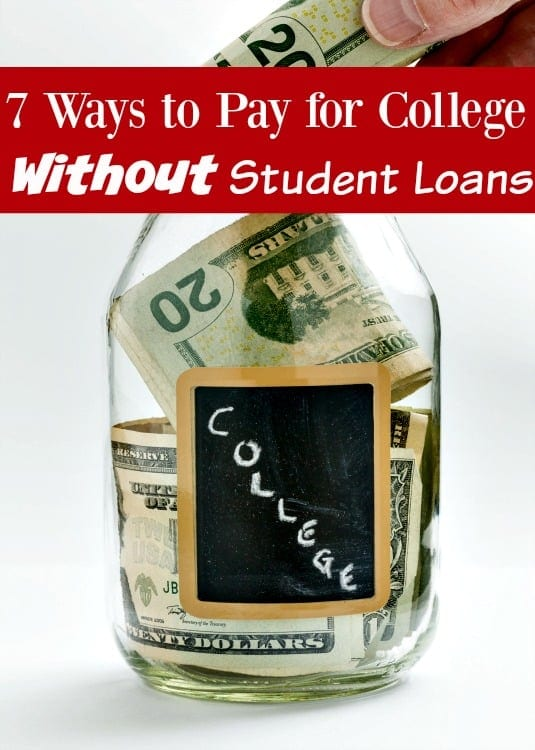 How to Pay for College without Going into Debt - College is super expensive and it isn't getting any cheaper. There's no need to take thousands of dollars in student loans though! These 7 ways to pay for college without student loans will help you pay for your own (or your kids') education out of pocket without going broke!