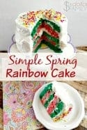 Need an awesome spring dessert? This rainbow cake recipe is just the ticket! Light, fluffy and not overly sweet! Plus customize it with any colors you want too!