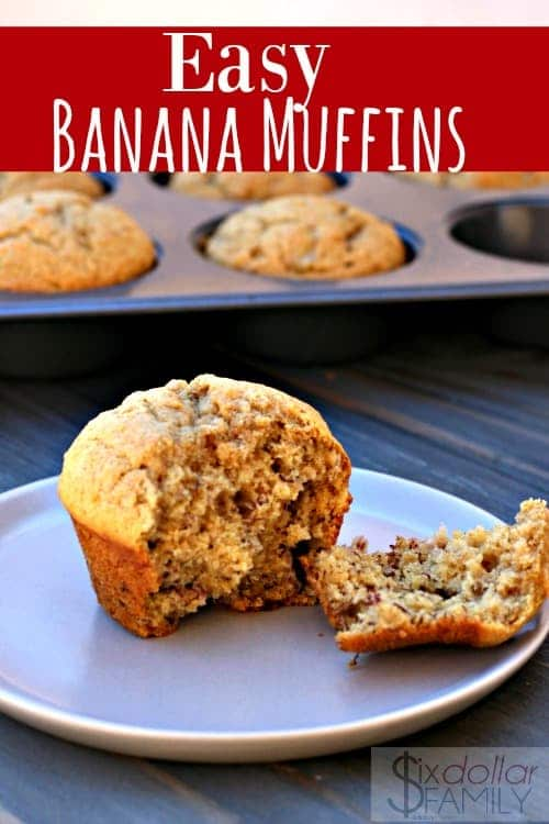 Love the taste of banana bread? Get that classic taste and more with these Easy Banana Muffins! They're so good and super easy to make! It's sure to become one of your favorite muffin recipes!