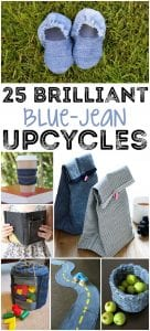 Don't throw those old jeans away! These 25 upcycled denim projects will give them new life! You'll be amazed at what you can do with an old pair of ratty jeans!