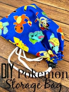 Tired of your kids Pokemon toys and cards lying around? Make them this super easy DIY Pokemon Storage bag! It's great for small toys, cards and more! Plus? It makes an amazing homemade gift idea!