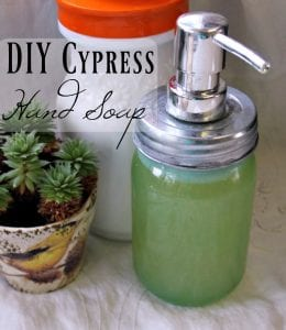 Making your own homemade hand soap is so easy! This DIY hand soap has a cypress and white fir scent that is just amazing!