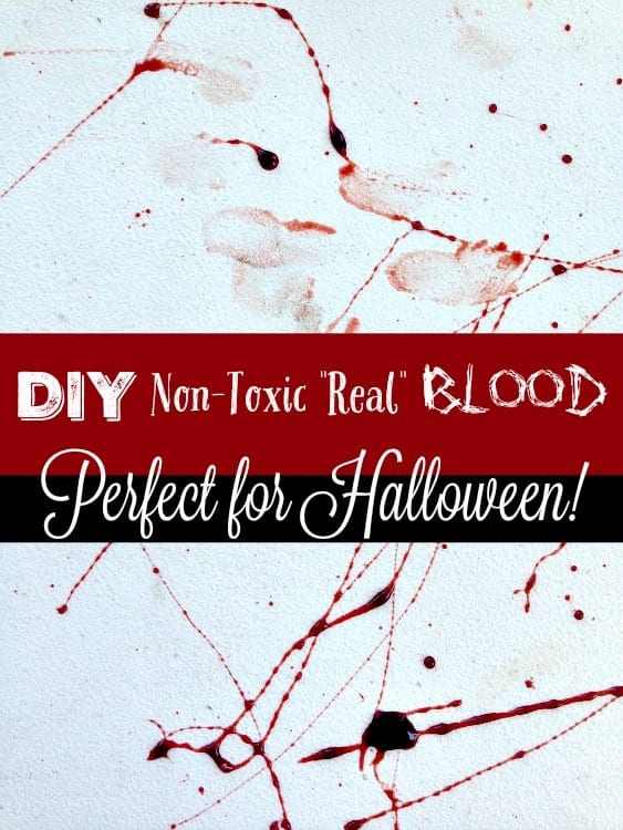 Making DIY Halloween Costumes this year? Check this out! This Halloween blood is homemade, takes less than 5 minutes and looks so real! Non-toxic and edible too!