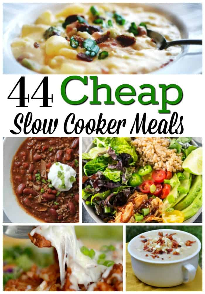 Budget Crockpot Recipes - Need an inexpensive recipe that will feed the whole family? These 44 cheap slow cooker meals are just the ticket!