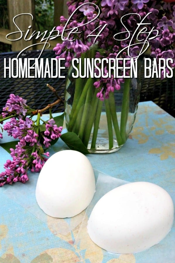 Homemade Sunscreen Bars - Ready for sunny days? These DIY Sunscreen Bars are all-natural and work better than the store-bought stuff! Plus they're super easy to make! Just 4 steps!