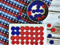 4th of July Crafts – Easy Kids Button Flag