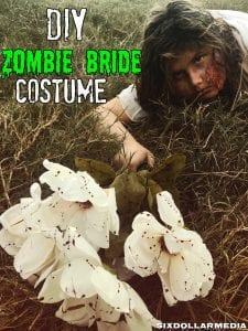 Ready to scare up some treats? You need this homemade Halloween costume! This DIY Zombie Bride Costume, complete with homemade (and non-toxic!) real looking blood is easier than you think and looks amazing! You'll be scaring up a good time in less than an hour!