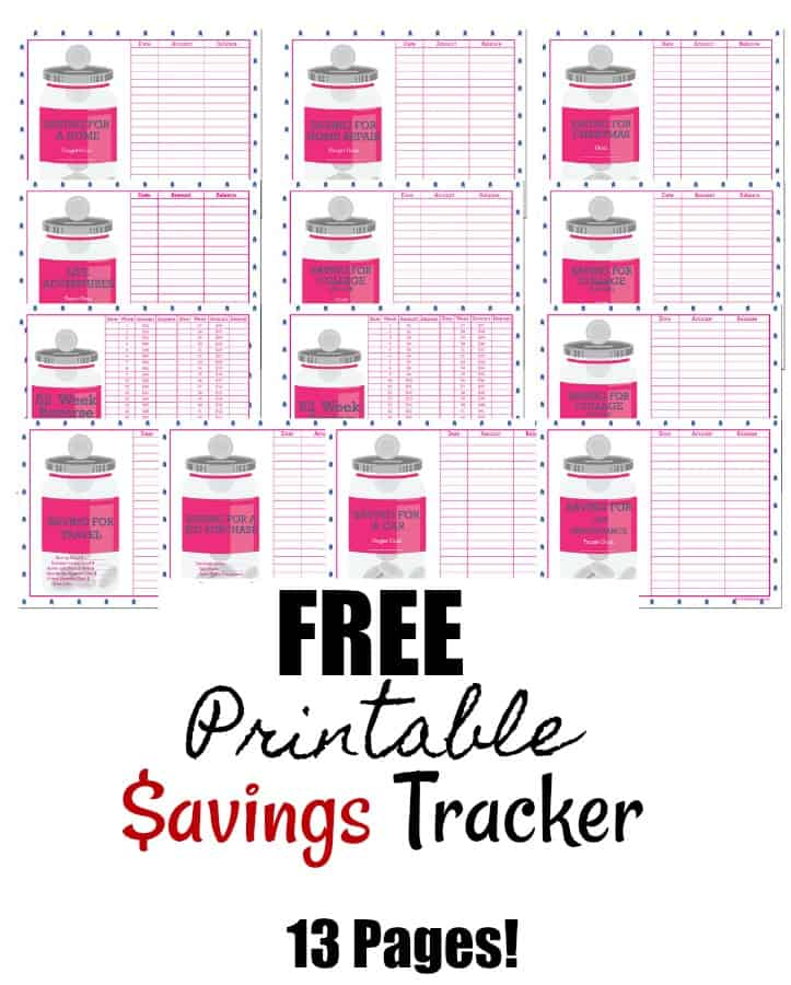 Printable Savings Tracker - Kick off your year with this awesome 13 page printable savings tracker pack! Meet your savings goals, save more money and reach your financial goals even easier than you thought possible!