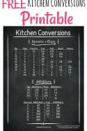 Free Printable Kitchen Conversion Chart - Take the guessing out of your measurements with this FREE printable kitchen conversion table! Cooking and baking has never been easier!
