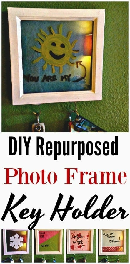 Upcycled Home Decor - Have an old photo frame lying around? It is PERFECT for this budget home decor project! Make this transforming DIY Repurposed Photo Frame Key Holder for Walls in just seconds! Change it up with the seasons, use it as a memo board and more!