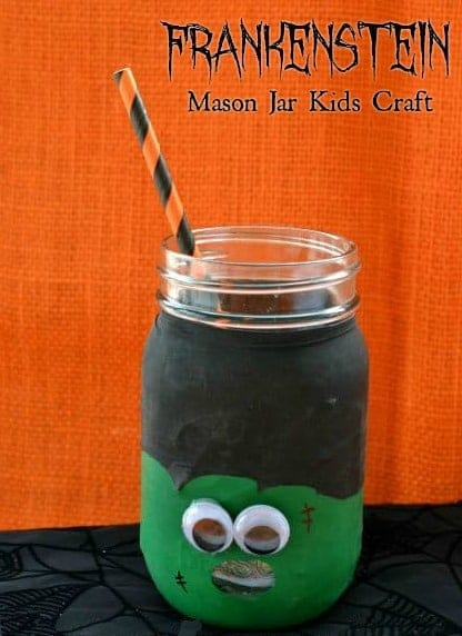 Frankenstein Mason Jar Kids Craft - If your kids like mason jar crafts, you'll love this Frankenstein mason jar kids craft! It's super easy to make and adorably spooky! Add a straw and your kids have a new favorite mug with this super Easy Kids Halloween Craft!