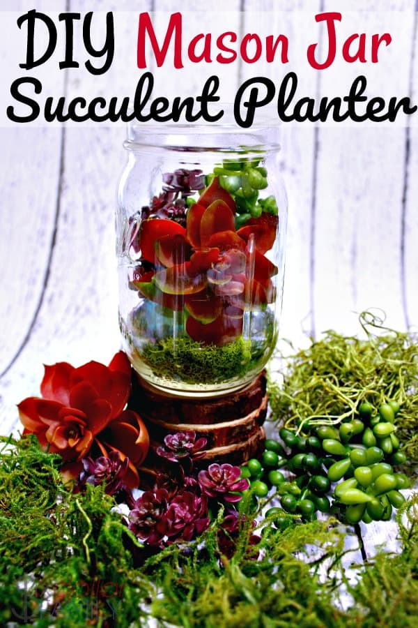 Upcycled Mason Jar Craft Ideas - Mason Jar Succulent Planter - Bring a little sunshine into your home with this super easy DIY mason jar succulent planter! It's one of my favorite mason jar craft ideas!
