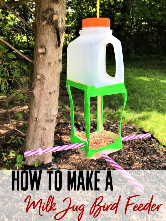 Looking for a way to repurpose milk jugs? Make this milk jug bird feeder! It's easy to make, will bring beautiful birds to your yard and saves you from buying a bird feeder! Even the kids can help!