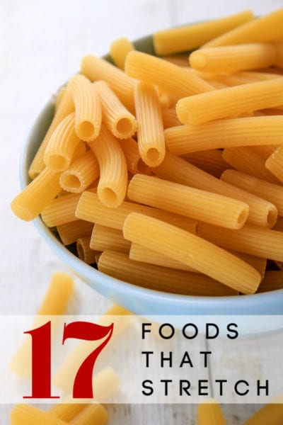 Trying to make the groceries in your pantry stretch? These 17 foods that stretch a long way are what you need! Fill your pantry with foods that last a long time and you'll eat comfortably for weeks and months to come!