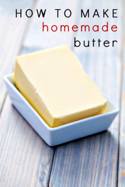 Skip paying high prices for butter and learn how to make homemade butter instead. This homemade butter recipe is so simple even a child could do it!