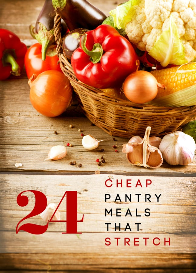 Can't get to the store right now? These 24 meals that stretch are all easily made into cheap pantry meals! Make enough for a crowd with what you already have on hand!