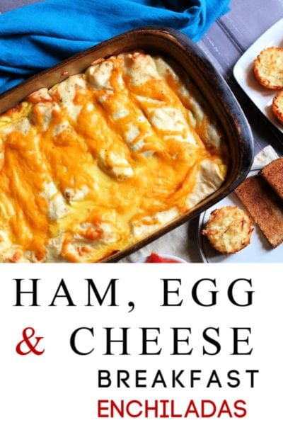 If you need a great, new breakfast casserole recipe, this ham, egg and cheese enchilada recipe is perfect! They're super easy to make and taste amazing! Add them to your menu for breakfast, lunch or dinner! The whole family will thank you!